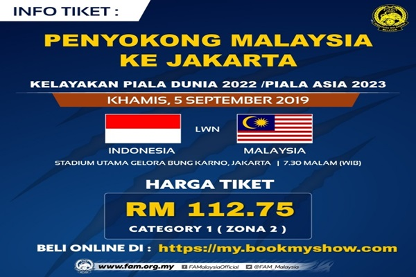 BERNAMA com - Tickets for Malaysia-Indonesia football match